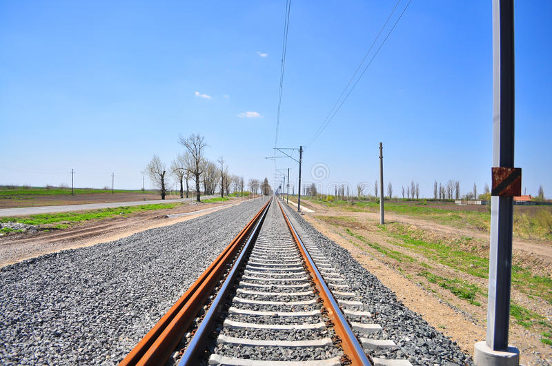 Train track in countryside royalty free stock photo