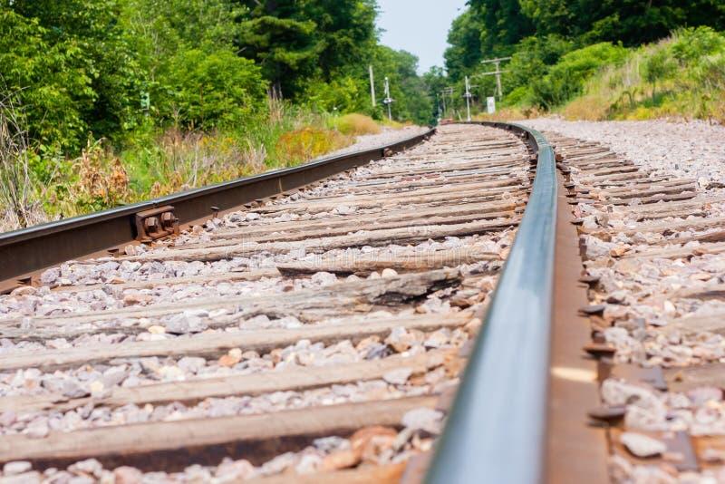 Train track curve stock image