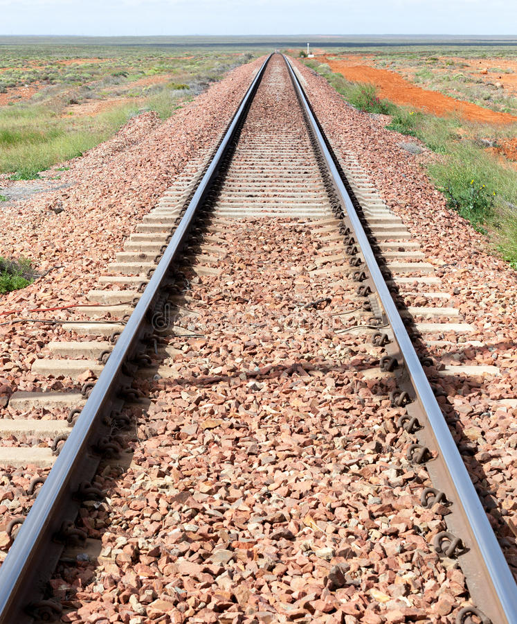 Train track outback australia royalty free stock image