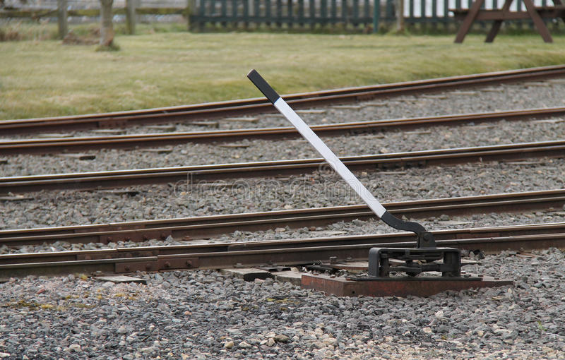 Levers Train Tracks O N : Train track points lever royalty free stock images