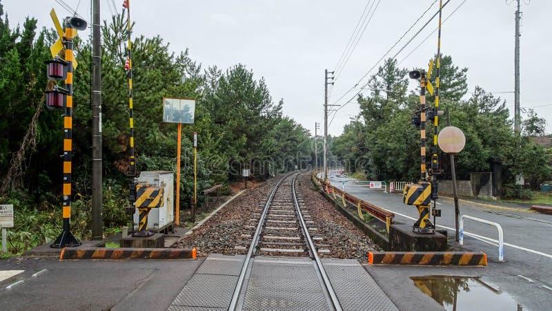 Train track at Uminonakamichi. Train track in rainy day at Uminonakamichi, Fukuoka Prefecture, Japan stock photo