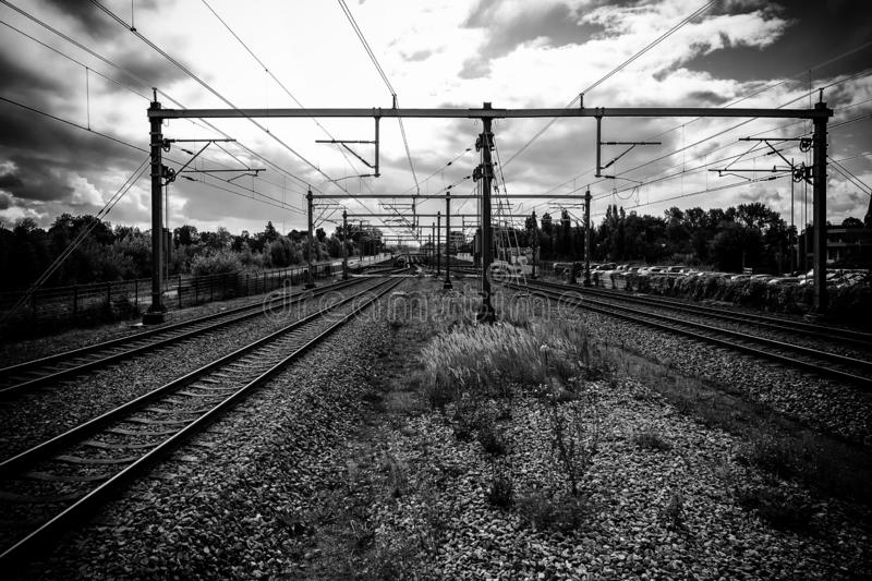 Train tracks in Amsterdam. Detail of public transport, tourism in Europe, netherlands, industry, engine, business, motion, high, speed, technology, commuter stock images
