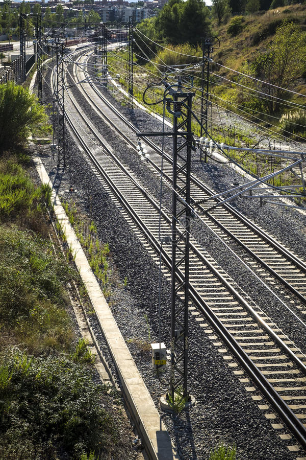 Train tracks in Barcelona Spain stock photography