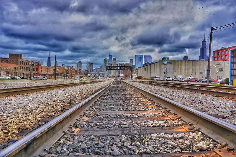 Train tracks in Chicago royalty free stock images