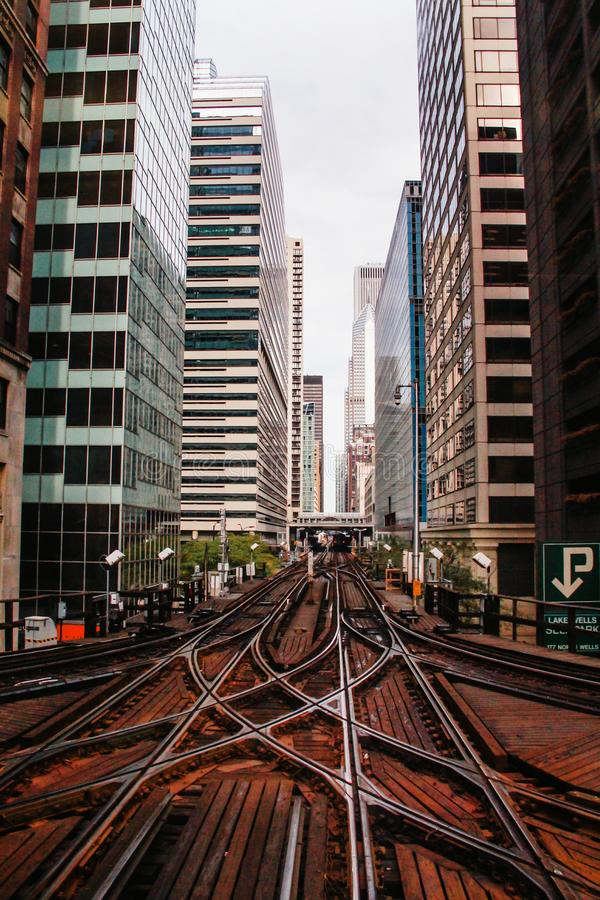Train tracks, City of Chicago downtown USA buildings royalty free stock images