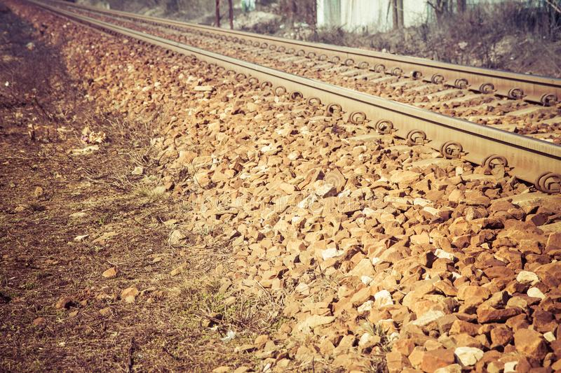 Train tracks. In close up royalty free stock photos