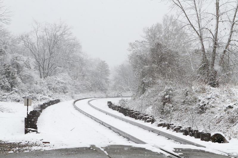 Download Train Tracks Covered In Snow Stock Image - Image: 27481527