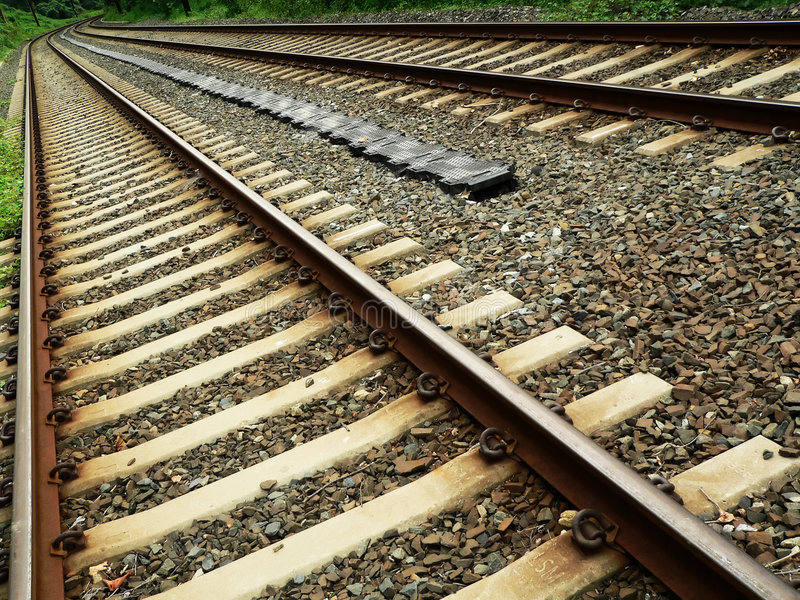 Download Train Tracks In Diagonal Perspective Stock Image - Image: 197713