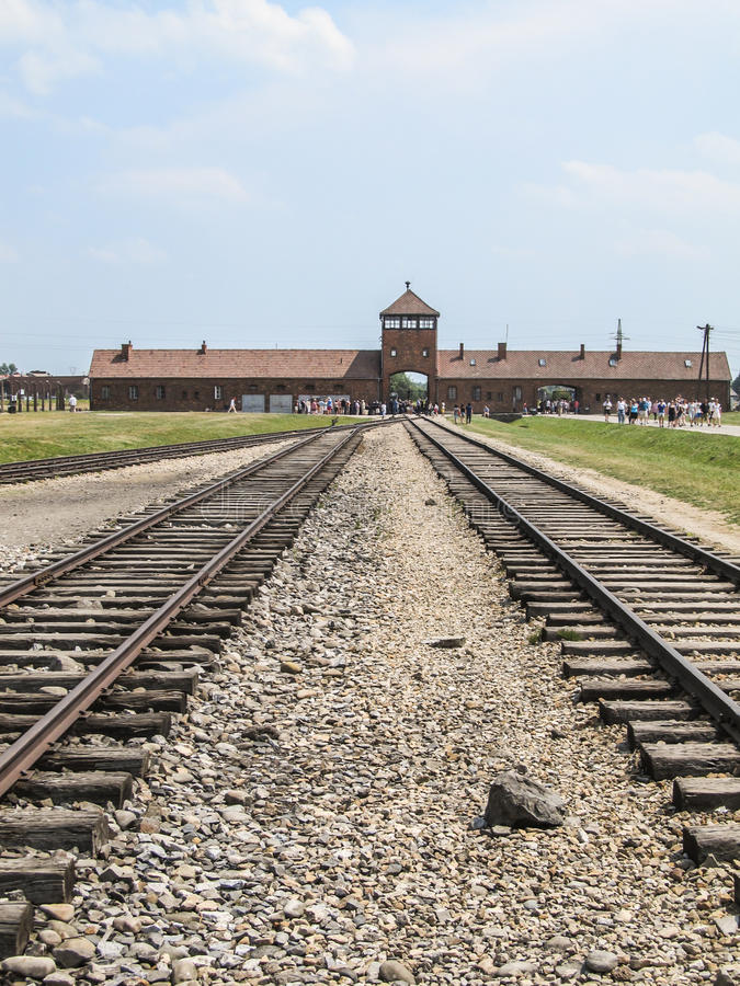 Train tracks at the entrance of Auschwitz. Concentration camp in Poland stock image