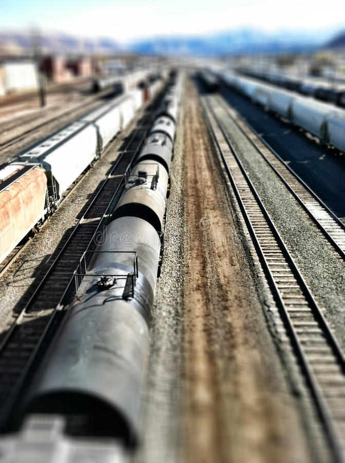 Train, Tracks and Miniature Effect. Train and tracks from above with a miniature effect applied stock image