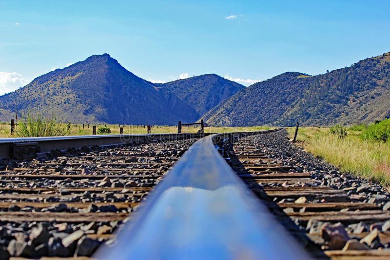 Train Tracks and Mountain View in Montana royalty free stock photography