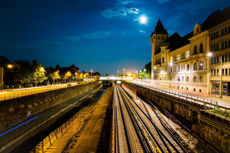 Train tracks at night stock images