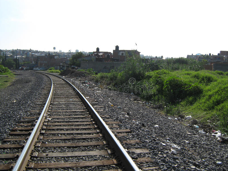 the train tracks royalty free stock photo