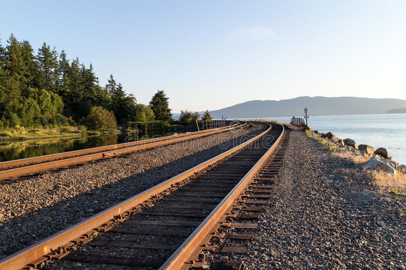 Train tracks round the bend royalty free stock image