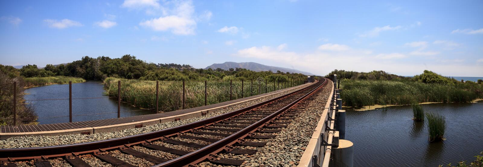 Train tracks run through San Clemente State Beach. In Southern California in summer stock image