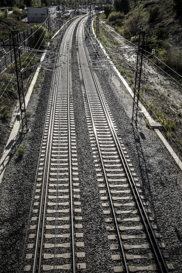 Train tracks in Sant Cugat del Valles Catalonia royalty free stock images