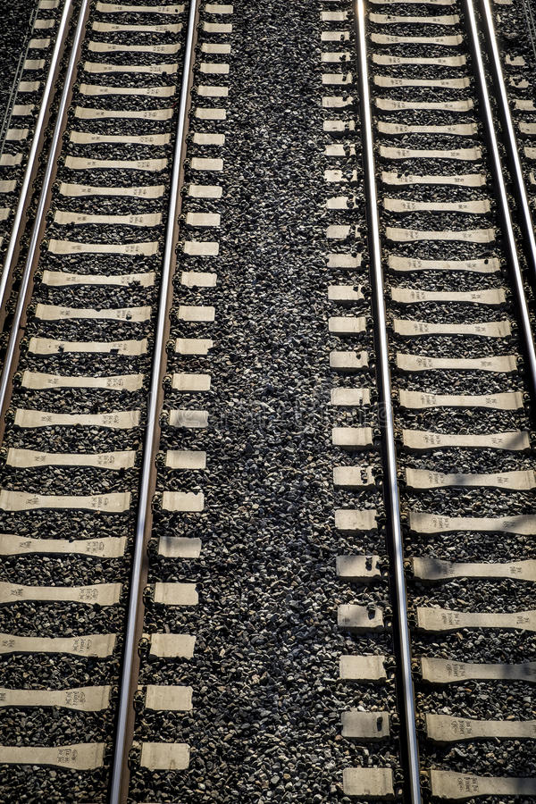 Train tracks in Sant Cugat del Valles Catalonia royalty free stock image