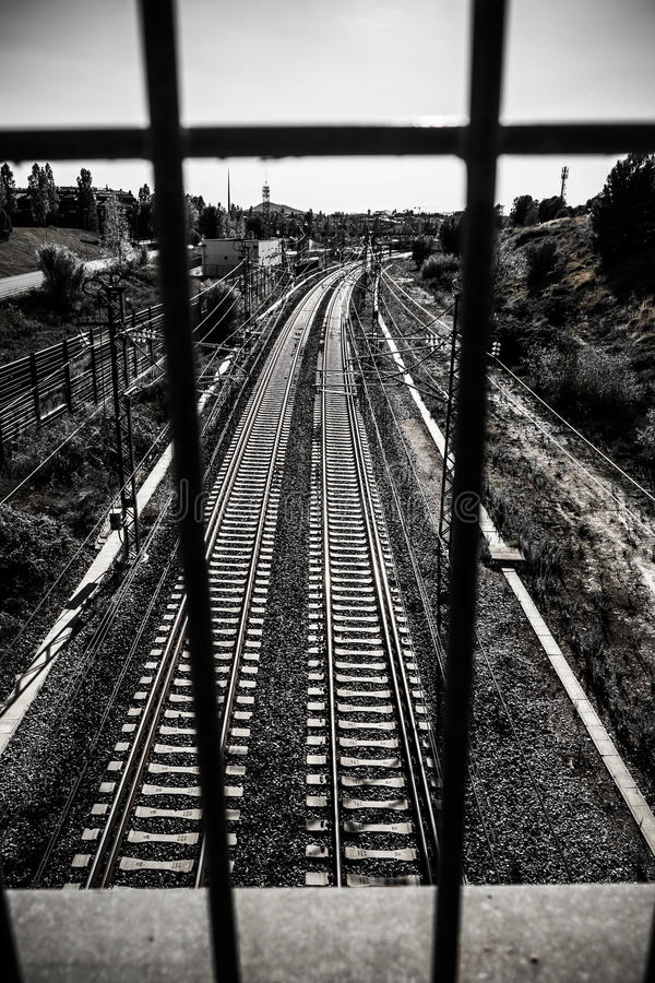 Train tracks in Sant Cugat del Valles Catalonia stock photography