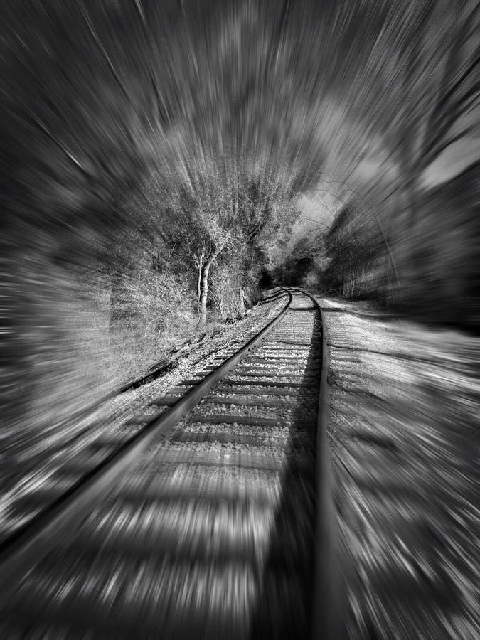 Train tracks. Speeding. Time. Zoomed. stock photos