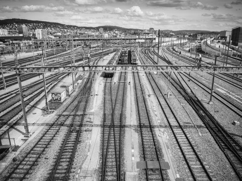 Train tracks in Hardbrucke, Switzerland royalty free stock photo