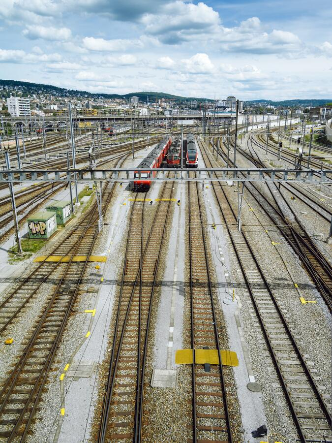 Train tracks in Hardbrucke, Switzerland royalty free stock images
