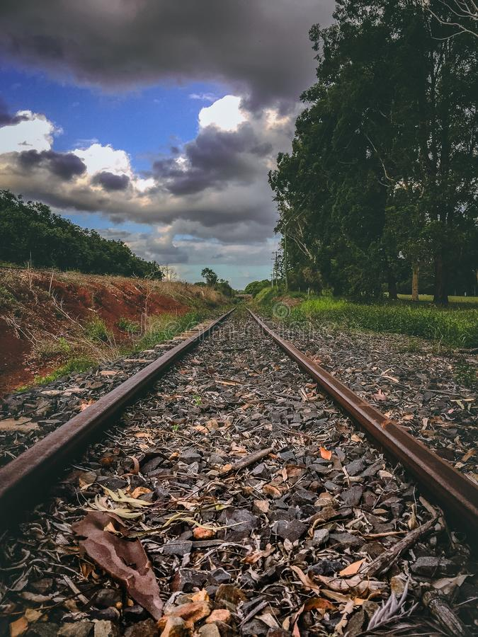 Train tracks view stock photography