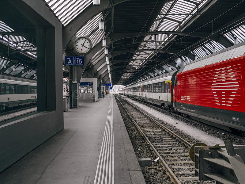 Train tracks in Zurich Switzerland royalty free stock photos