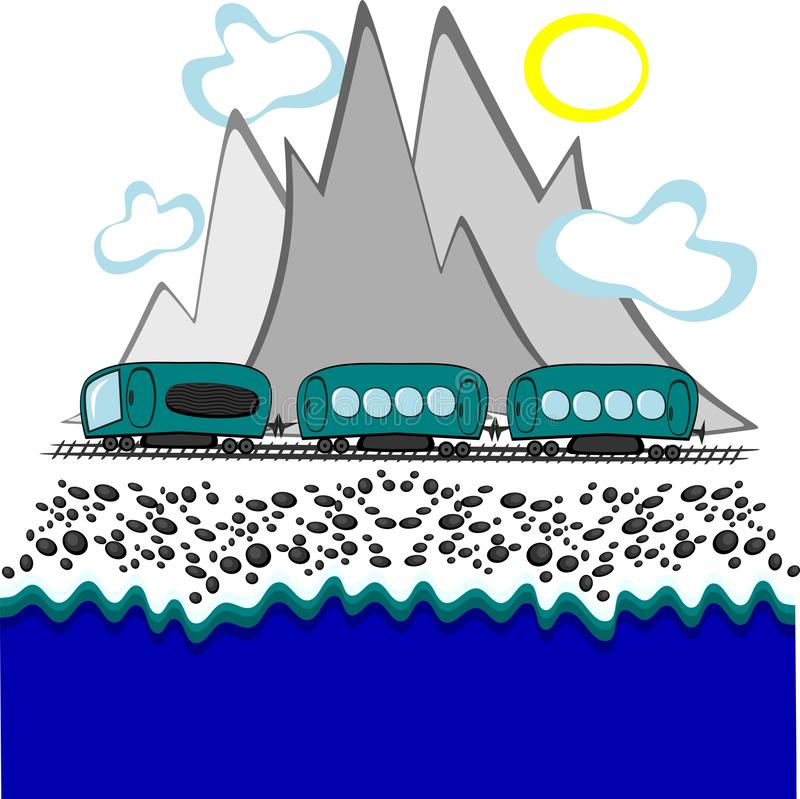 Train travel along the sea and mountains royalty free illustration