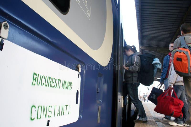 Train travelers stock photos