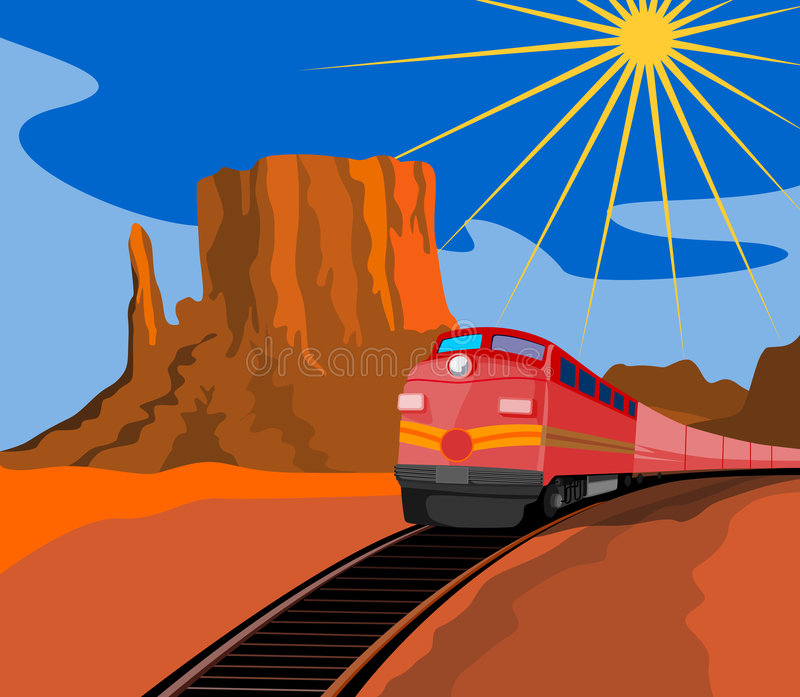 Train travelling with canyon stock image
