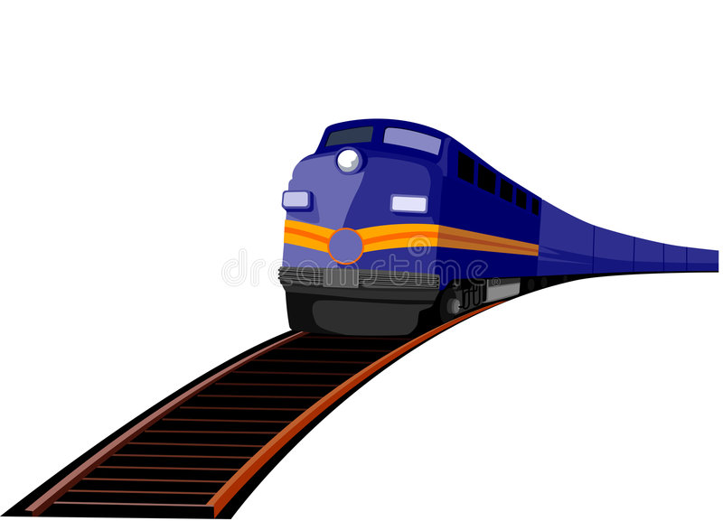 Train travelling on tracks stock photography