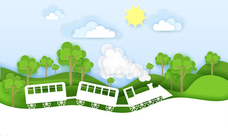 Train travels through forest vector illustration in paper art origami style. Travel concept paper cut design.  royalty free illustration