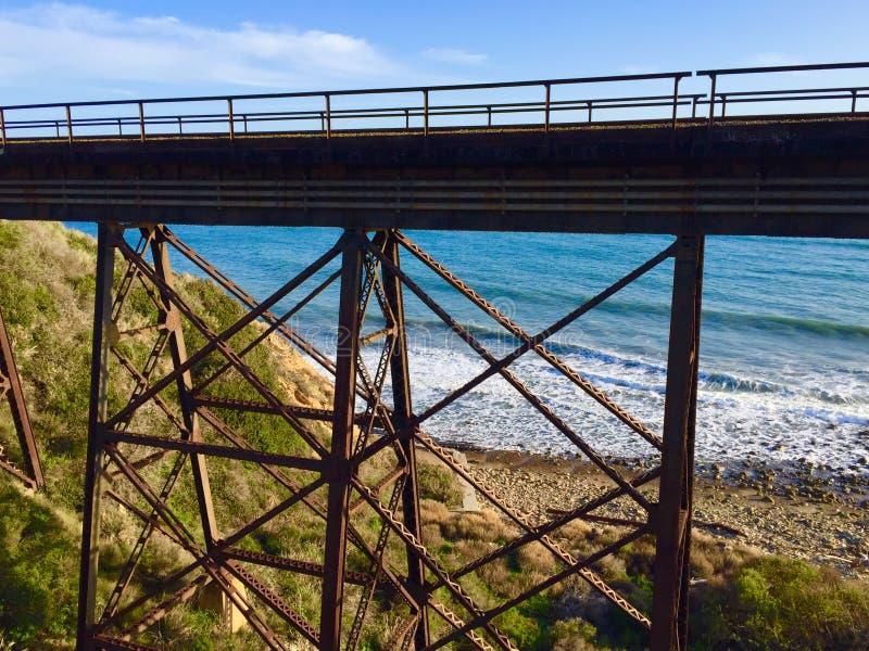 Train trestle at the beach stock photos