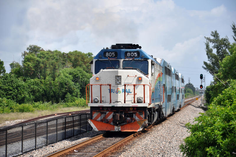 Train. Tri-Rail train and railroad in Florida, USA royalty free stock photography