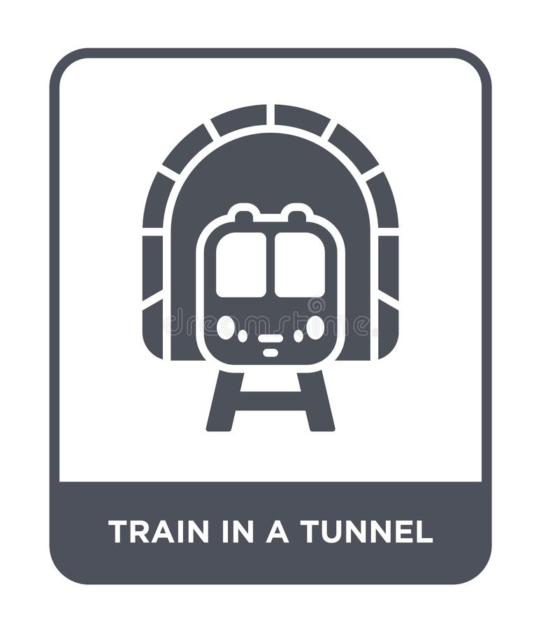 Train in a tunnel icon in trendy design style. train in a tunnel icon isolated on white background. train in a tunnel vector icon. Simple and modern flat symbol stock illustration