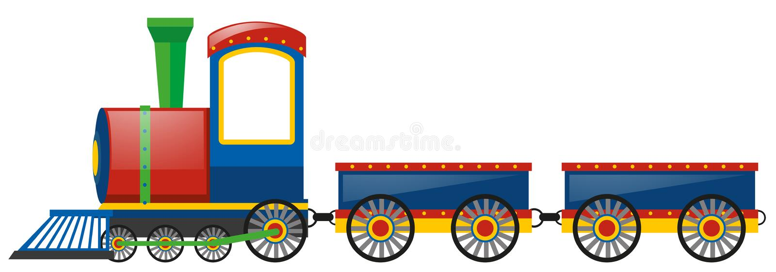 Train and two wagon carts stock illustration