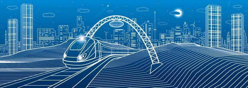 Train under the bridge. Modern night town, neon city. Infrastructure illustration, urban scene. White lines on blue background. Ve. Ctor design art vector illustration