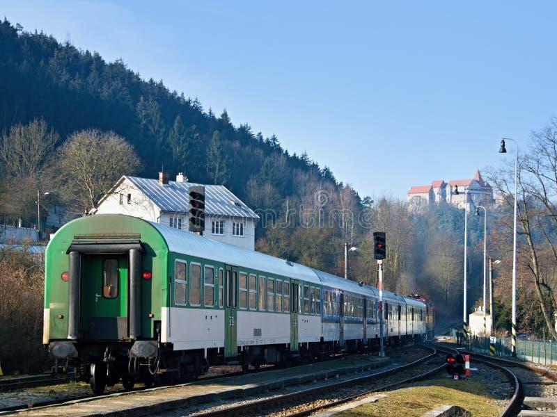 Train under castle royalty free stock photos