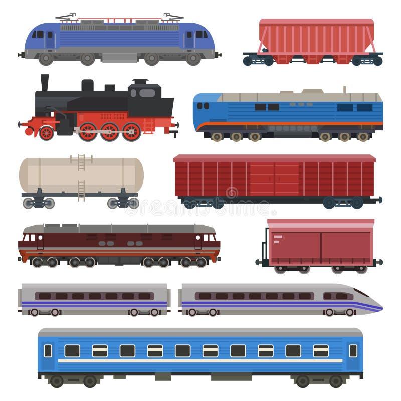 Train vector railway transport locomotive or wagon and subway or metro transportation illustration set of transportable stock illustration