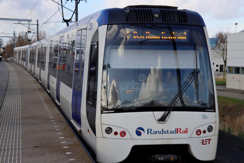 Train vehicle of Randstadrail along platform at station Forepark with tram type Flexity Swift royalty free stock photos