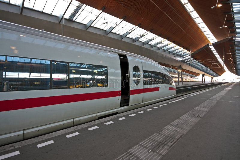 Train waiting in trainstation royalty free stock photos