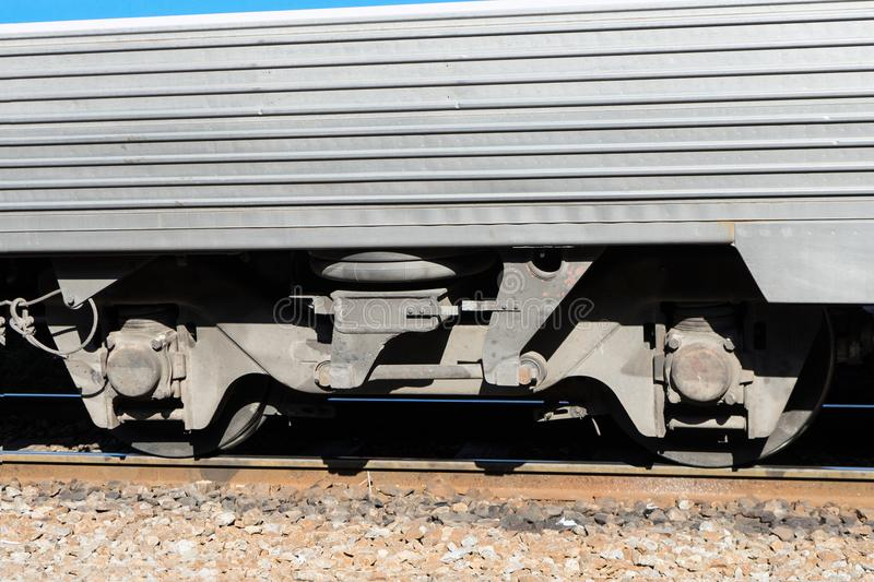 Train wheels on tracks with train bogie royalty free stock photos