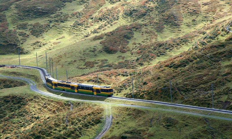 Train winding through moutains