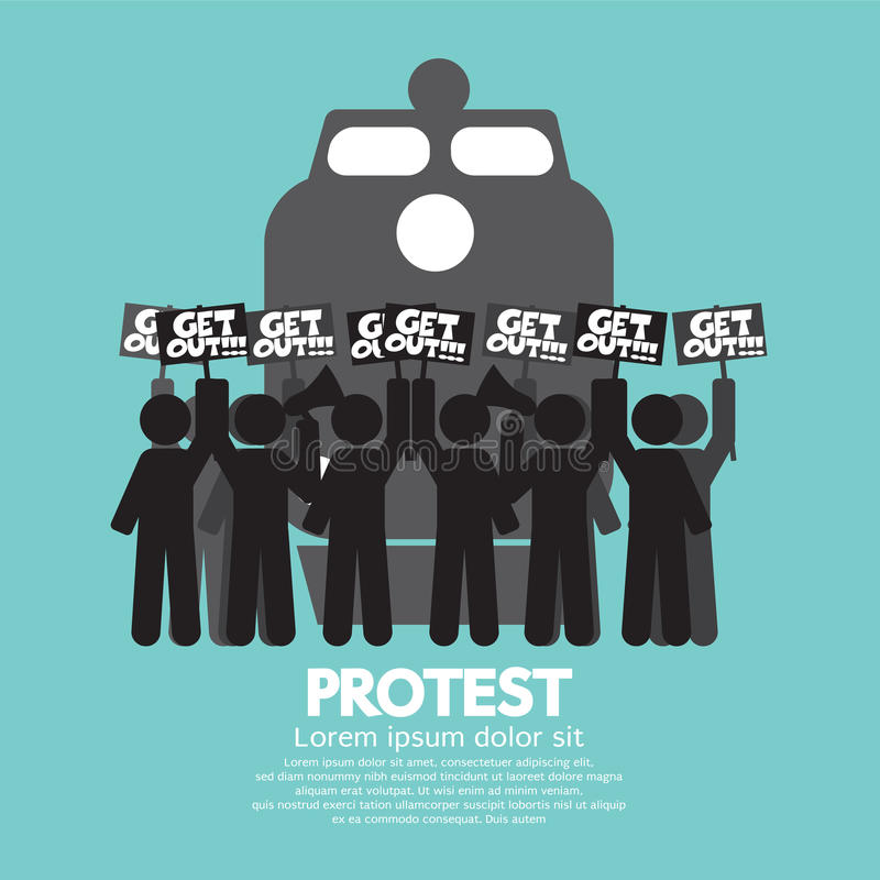 Train Workers Strike And Protest royalty free illustration