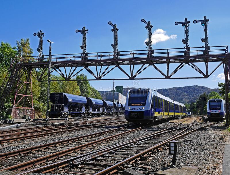Train yard with trains stock photos