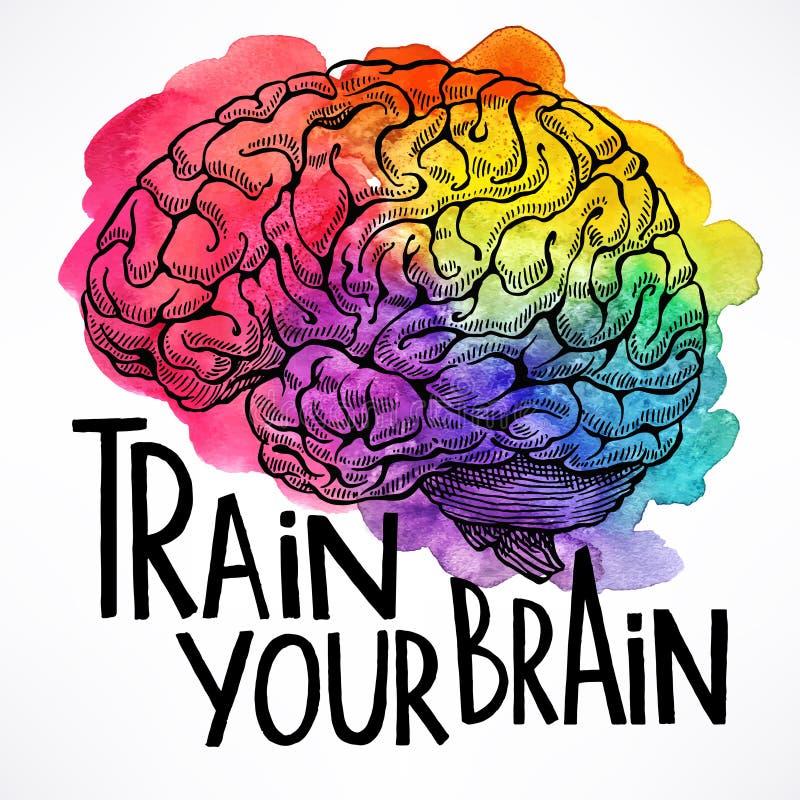Train your brain vector illustration
