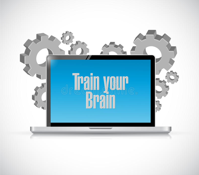 train your brain laptop computer sign concept stock illustration