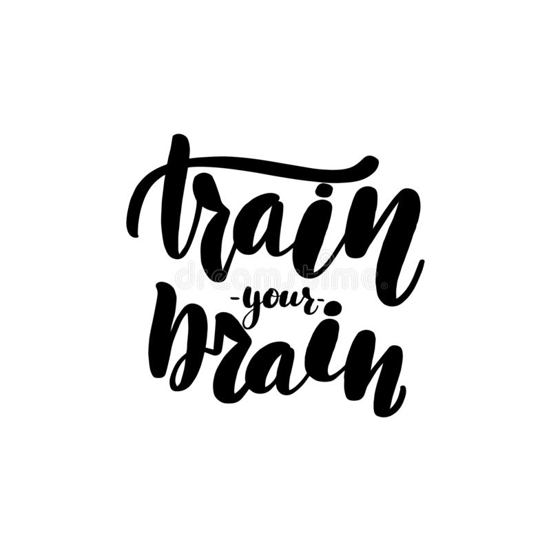 Train your brain lettering card. stock illustration