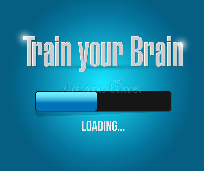 train your brain loading bar sign concept vector illustration