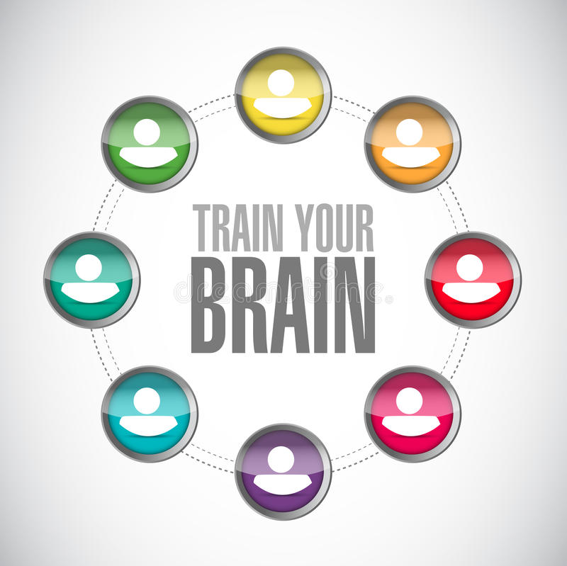 train your brain people community sign concept stock illustration
